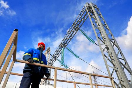 electricidad industrial: El trabajador de la central Foto de archivo