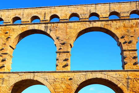 Ancient Roman Aqueduct, the Pont Du Gard, France
