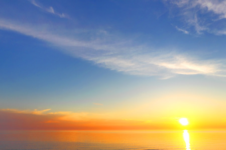 Golden sky background of sunset Stock Photo