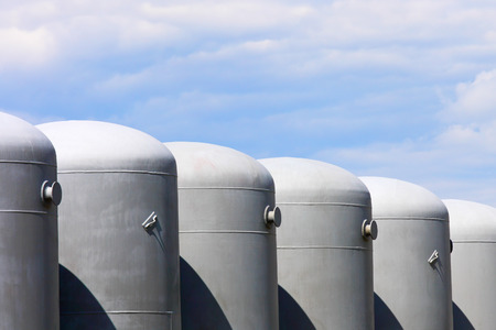 factory power generation: Oil and gas tanks Stock Photo