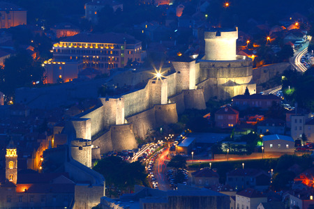 Dubrovnik.Croatia.Night view of the old city.