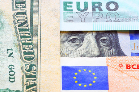 Banknotes of euro and dollars. photo