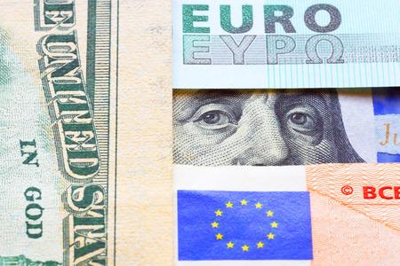 Banknotes of euro and dollars.