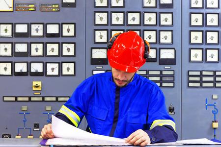 Engineer working in the industrial interior