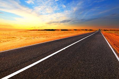 Open road. The autobahn in the desert.