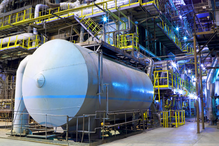 fuel storage: Chemical factory.The interior of the refinery. Stock Photo