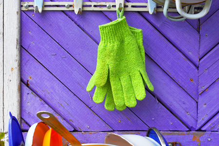 homestead: Green gloves against violet boards. A hanger on a wall of the private house. Abstract symbol of homestead economy. Stock Photo