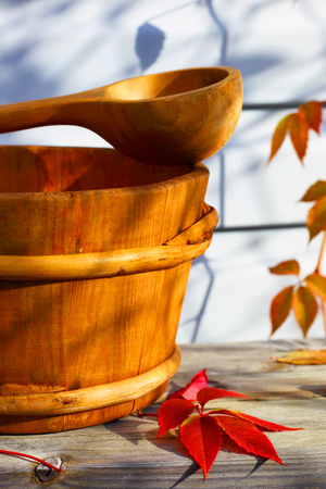 ware house: Autumn background. Wooden ware. Country house. Stock Photo