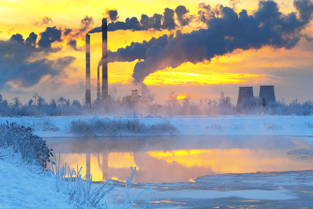 carbon pollution: Environmental pollution.Industrial business.