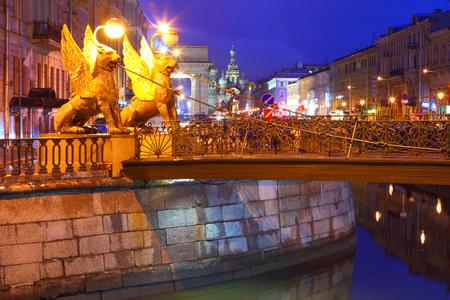 st  petersburg: St. Petersburg, Russia. Night city. Bankovsky Bridge. White night.