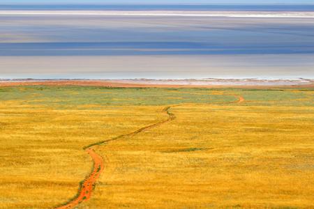 livelihoods: Salt lake Baskunchak.Steppe.Salt Extraction.Landscape.