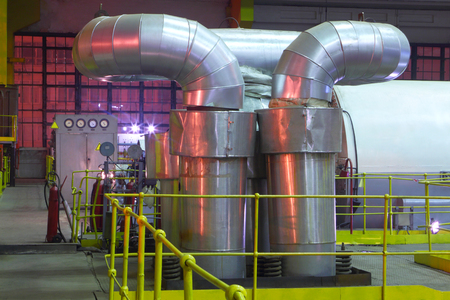 Chemical factory.The interior of the refinery. Stock Photo