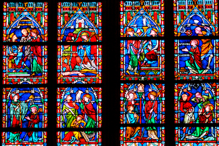 The stained glass of the XII century in the Abbey of Saint-Germain. Auxerre.France. Editorial