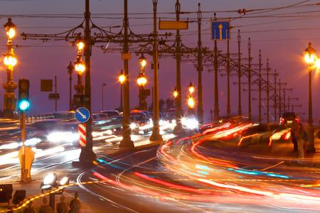 Saint-Petersburg. Russia.Traffic on bridge at night. Stok Fotoğraf