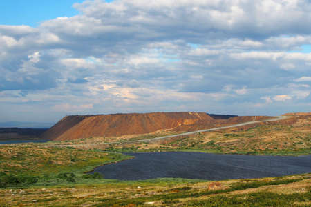 Polar desolate country landscape of the tundra in summer