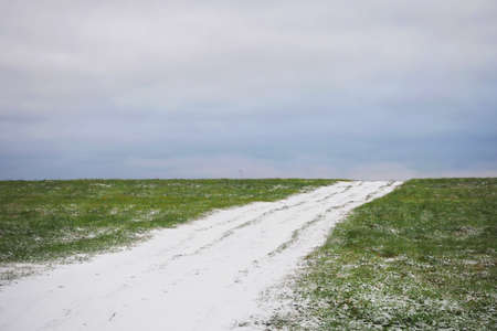 Natural background of the beginning of winter. The first snow