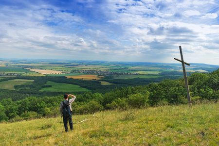 Man on hill have panoramic view at country