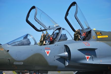 a mirage: France fighter plane Mirage 2000 with open cockpit