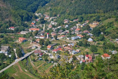 Beautiful typical Slovak mountain village in summer day Stock Photo