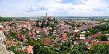 Panoramic view of the historical center of the Czech city of Mikulov