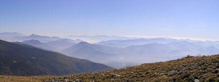 Panoramic view of mountain peaks in autumn Stock Photo - 7704610