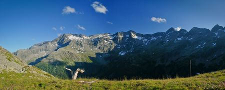 Panoramic view of beautiful snowy mountain ridge Stock Photo - 7704651