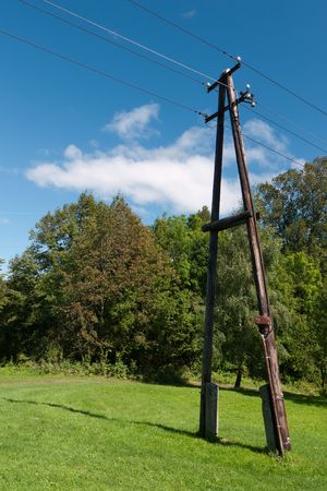 Old wooden power line pole encased in a beautiful natural environment