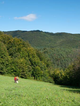 Pareja de enamorados en el caminando en las montañas Foto de archivo - 7802335