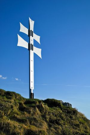 double cross: Hill with double cross as a symbol of Central European nations Stock Photo
