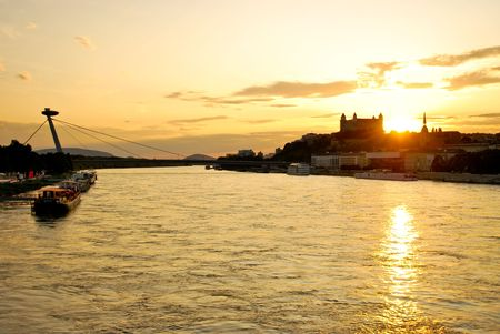 River Danube and Bratislava dominants in the light of the sun