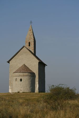 dry stone: Beautiful building of early Christian church on the hill