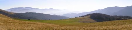 Panoramic view of the mountain plateau in the morning Stock Photo - 8013686