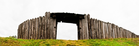 Panorama of wooden stockade with the entrance Stock Photo - 8734389