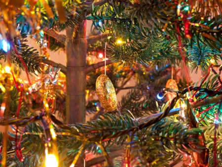 Decorated Christmas tree in beautiful colored lights