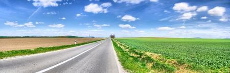 Panorama van de asfaltweg in een mooie zonnige herfstdag