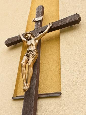 Das Leiden Jesu Christi auf dem Kreuz aus Holz Lizenzfreie Bilder