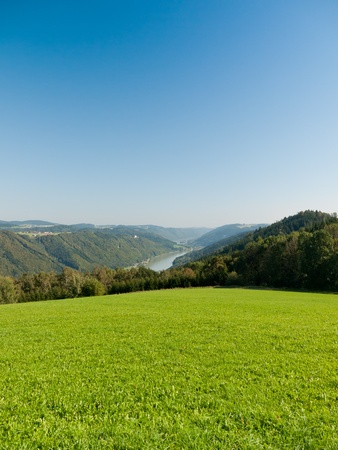 danubian: The upper stream of the Danube River with typical Austrian countryside Stock Photo