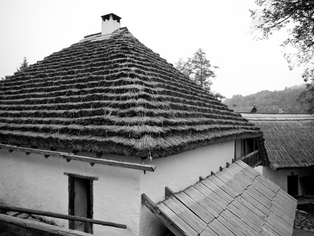 A typical bohemian country house with reed and shingle roof photo