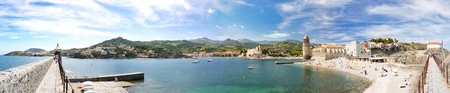 tourist destinations: Panorama of tourist destinations in the Mediterranean with beautiful bay and historic port Stock Photo