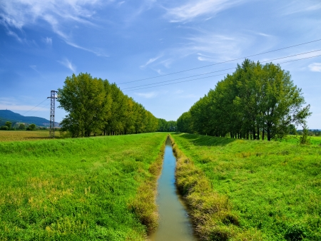 Rural landscape with small river at summer Stock Photo - 17007518