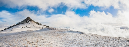 Beautiful panorama of Black Stone hill in winter photo
