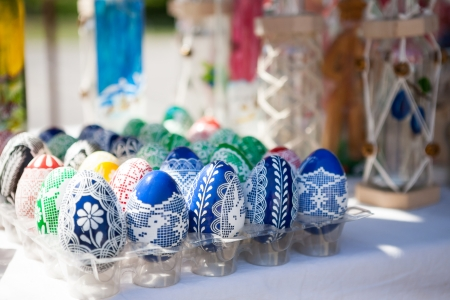 Beautiful painted Easter eggs with traditional patterns