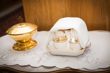 glorification: Pots and containers serving for carry of Holy Communion Stock Photo