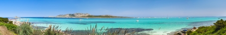 Panoramic view of European most beautiful beach La Pelosa in Sardinia photo
