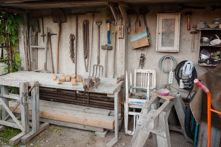 Gadgeteer workbench and home tool shed with implements
