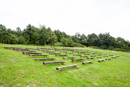 Simple outdoor amphitheater in natural autumn park
