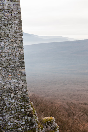 dominating: Old stone wall of a medieval castle dominating over the large forest landscape