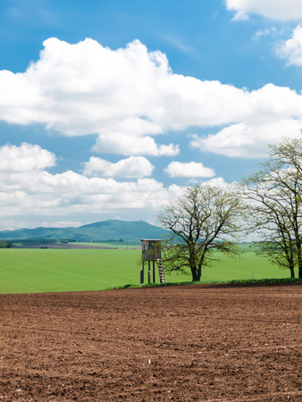 agrarian: Agrarian landscape with high wooden hunter stand Stock Photo