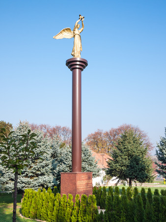 philanthropy: RISNOVCE, NITRA REGION, SLOVAKIA - October 31, 2015: Monument of Kind Angel of Peace symbolizing humanity, charity and philanthropy, regardless of origin, nationality and religion