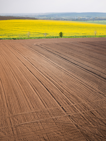 machined: High angle view on the tractor traces on the machined field Stock Photo